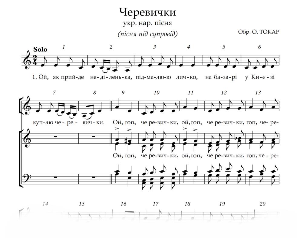 Скачать ноты украинских песен, ноты акапелла, ноты джерела.